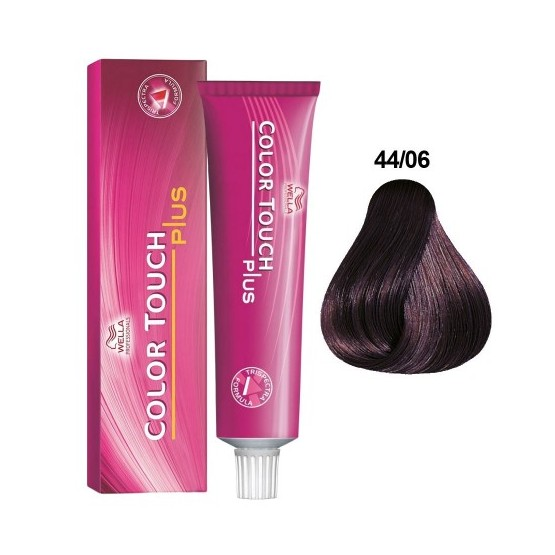 Baño de Color Wella Color Touch Plus 44/06 Castaño Mediano Natural Violeta 60ml