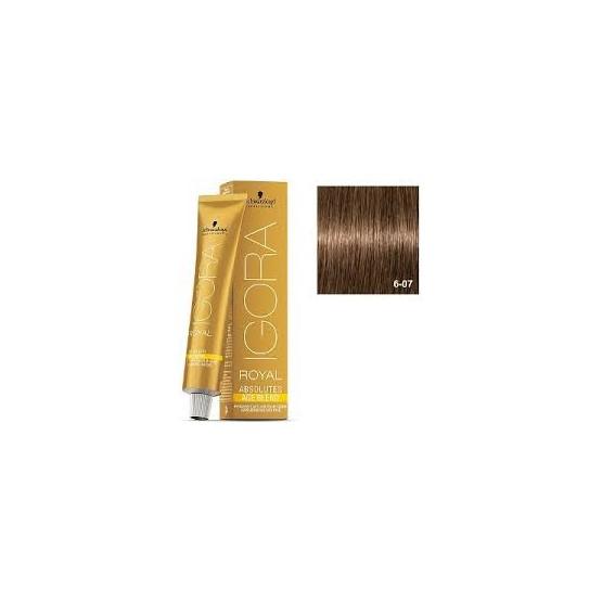 Tinte IGORA ROYAL ABSOLUTES age blend 6-07 Rubio Oscuro Natural Cobrizo 60ml