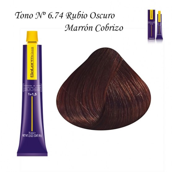 Tinte Salerm Visón 6,74 Rubio Oscuro Marrón Cobrizo 75ml
